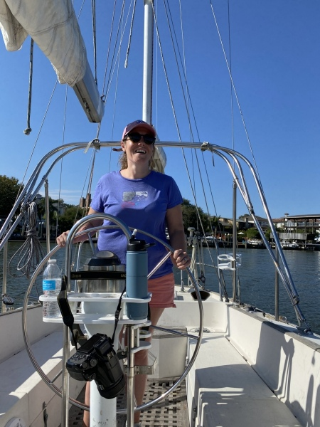 Kate at the helm