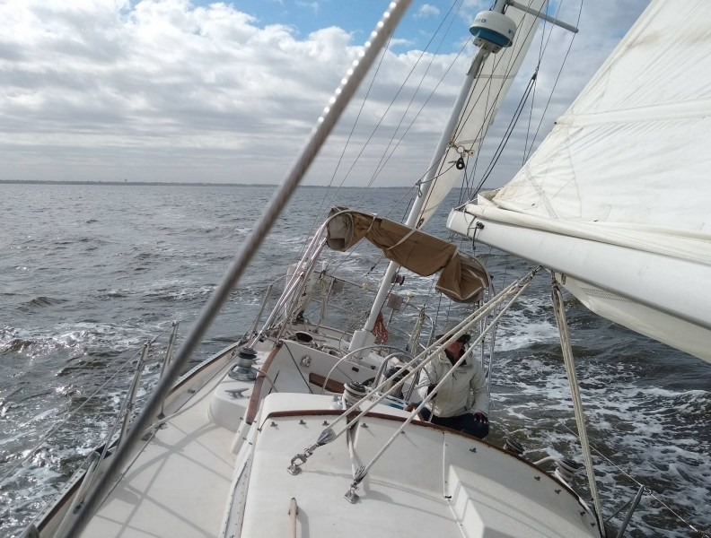 Amelie at the helm